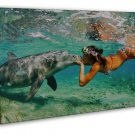 Dolphin Girl Ocean Sea Summer Kiss Positive Art 16x12 FRAMED CANVAS Print