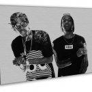 Wiz Khalifa Asap Rocky Smoke Rap Music Black White 16x12 Framed Canvas Print