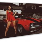 Girl Red Muscle Car 16x12 Framed Canvas Print