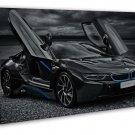 Bmw I8 Black Car 16x12 Framed Canvas Print