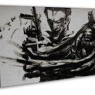 Batman Joker Art Black White 16x12 Framed Canvas Print