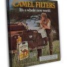 Vintage Camel Filters Cigarette Smoking Ad Art 16x12 Framed Canvas Print