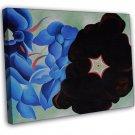 Georgia Okeeffe Black Hollyhock Blue Larkspur Fine Art 16x12 Framed Canvas Print