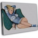 Al Moore PIN UP Girl Art 16x12 Framed Canvas Print