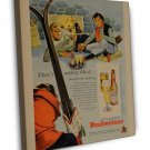 Vintage Budweiser Ski Ad Art 16x12 Framed Canvas Print