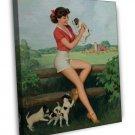Walt Otto PIN UP Girl Art 16x12 Framed Canvas Print