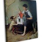 Norman Rockwell The Little House Fine Art 16x12 Framed Canvas Print