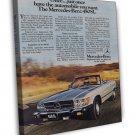 Vintage Mercedes Benz 450SL Car Ad Art 16x12 Framed Canvas Print