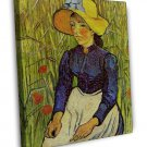 Van Gogh Young Peasant Woman With Straw Hat Sitting In The Wheat 16x12 Framed Ca