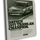 Vintage Datsun 1971 Trans Am Champion Car Ad Art 16x12 Framed Canvas Print