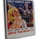 Wwii Greek War Relief War Propoganda Art 16x12 Framed Canvas Print