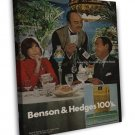 Vintage Benson And Hedges 100S Smoking Ad Art 16x12 Framed Canvas Print