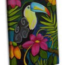 Psychedelic Toucan Bird Art Image 16x12 Framed Canvas Print