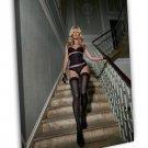 Kate Moss Lingerie Model Image 16x12 Framed Canvas Print