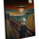 Alien Space Ship The Scream Art Image 16x12 Framed Canvas Print