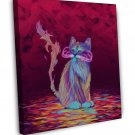 Psychedelic Cat Image 16x12 Framed Canvas Print