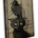 Black Cat With Crow Bird Art Image 16x12 Framed Canvas Print