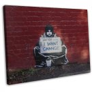 Banksy Street Art Canvas Art 20x16 Framed Canvas Print Decor