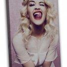 Rita Ora Music Star Art 20x16 Framed Canvas Print Decor