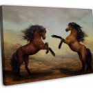 Galloping Horses Art 20x16 Framed Canvas Print Decor