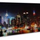 New York City Night Cityscape Wall Decor 20x16 Framed Canvas Print
