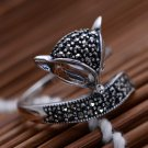 Vintage Marcasite Stone Fox 925 Sterling Silver Ring