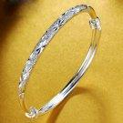 Fashion Simple Solid 999 Silver Open Bangle