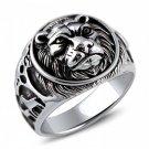 Vintage Wild Lion Forest 925 Sterling Silver Men Ring