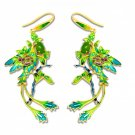 Green Peacock Vogue Handmade Enamel Yellow925 Silver Jasper Hanging Earrings