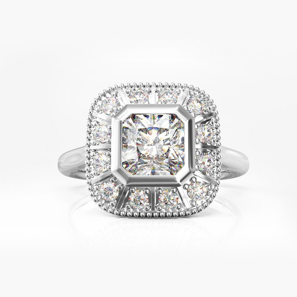 Masculine Square Cubic Zirconia 925 Sterling Silver Ring