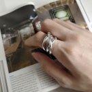 Modern Line Cross 925 Sterling Silver Adjustable Ring