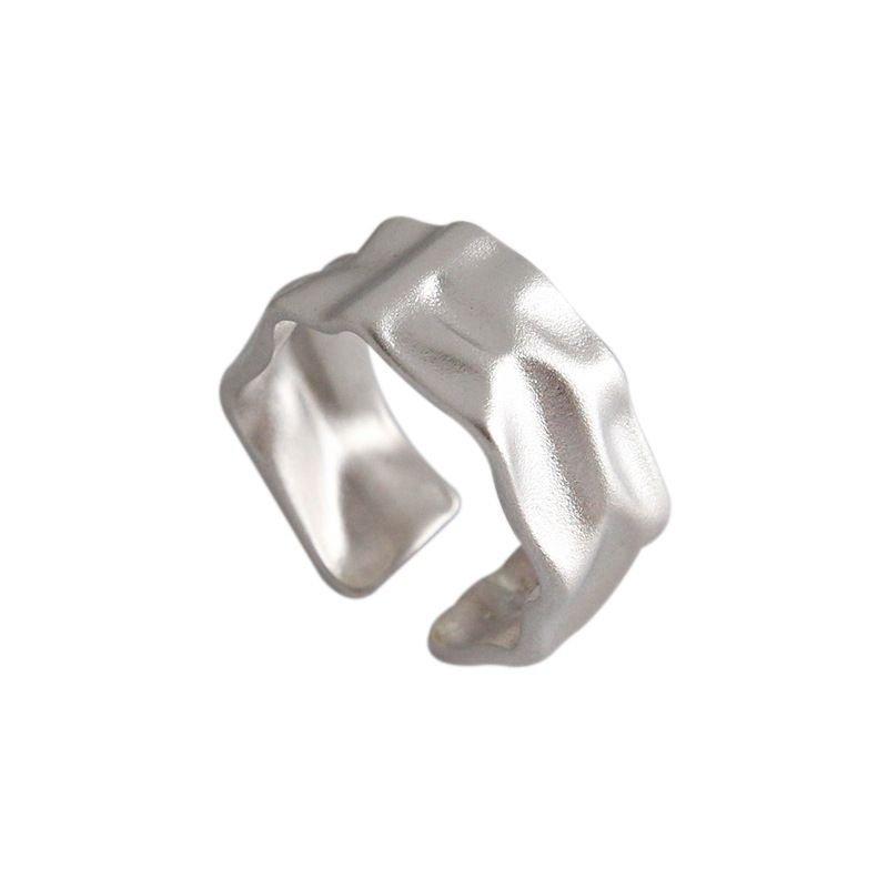Irregular Surface 925 Sterling Silver Adjustable Ring