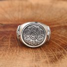 Chinese Letter Oxide Flower 925 Silver Ring For Man