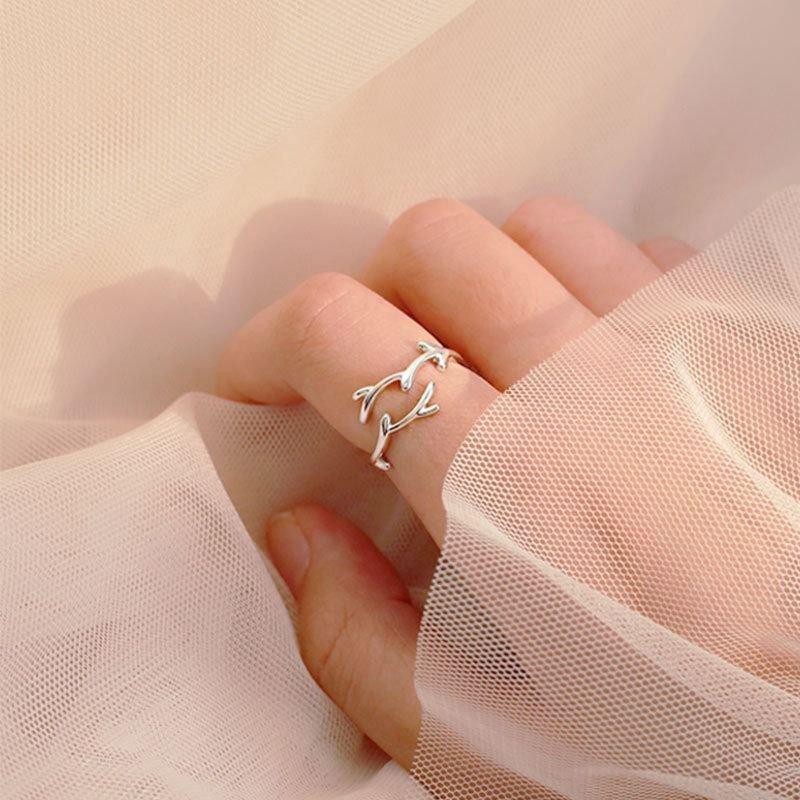 Gift Leaf Branch 925 Sterling Silver Adjustable Ring