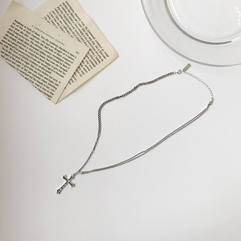Vintage Cross Holy 925 Sterling Silver Necklace