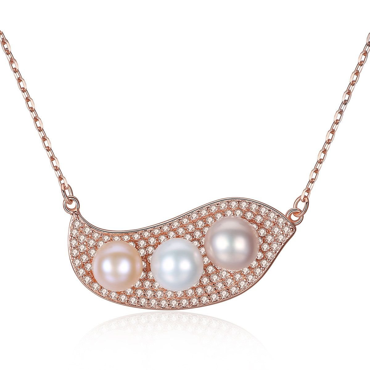 Colorful Pea Pod Three Natural Pearls 925 Silver Necklace