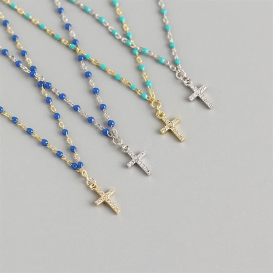 Holy CZ Cross Beads 925 Sterling Silver Necklace