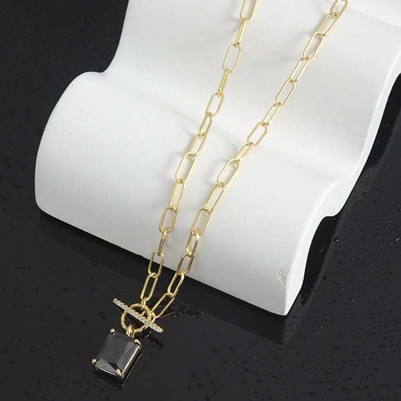 Geometry Black CZ Square OT 925 Sterling Silver Necklace