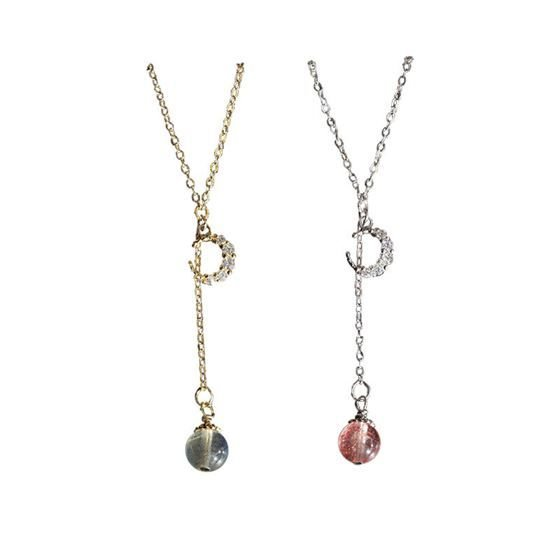 CZ Moon Natural Moonstone/Strawberry Quartz 925 Sterling Silver Necklace