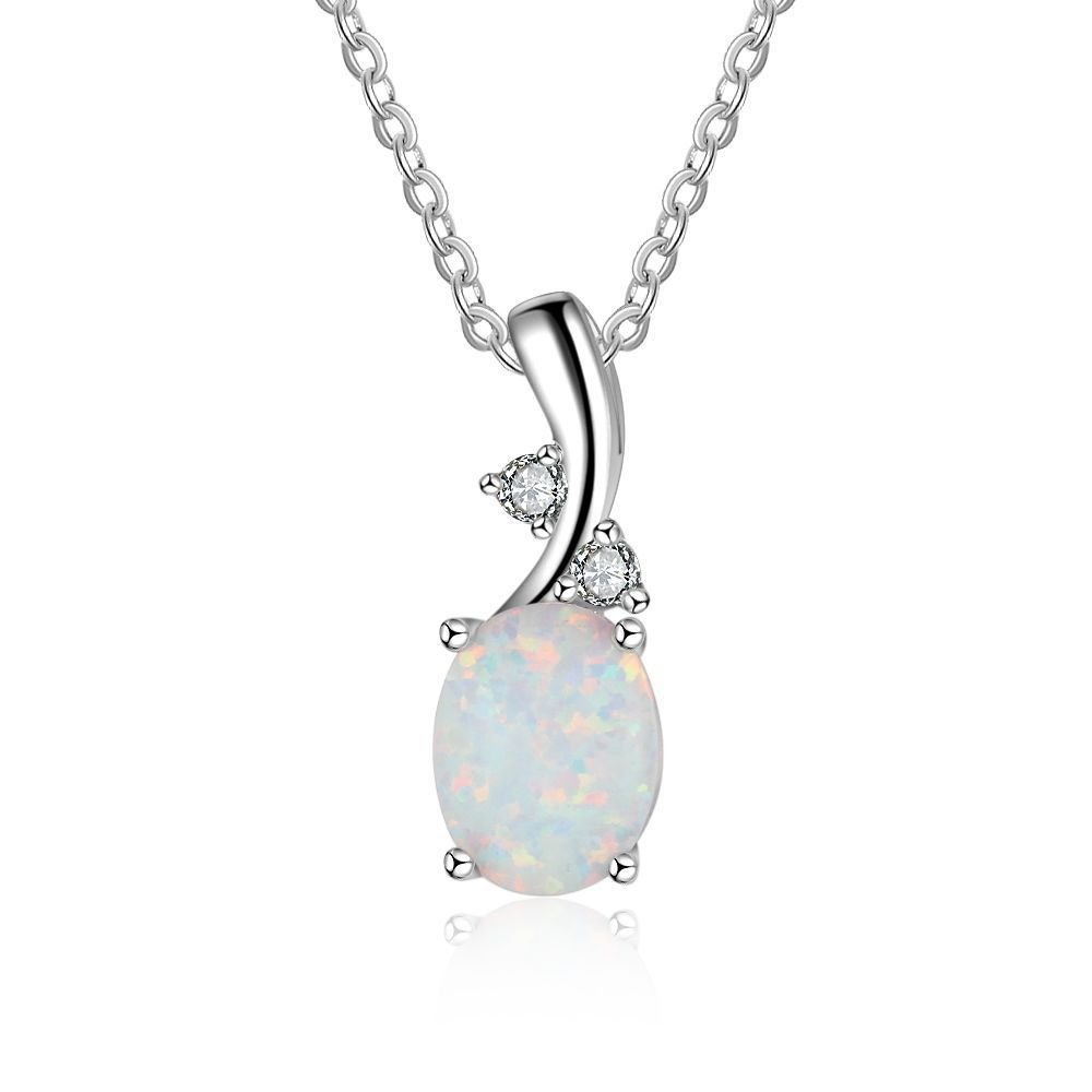 Office Oval Created Opal CZ 925 Sterling Silver Necklace