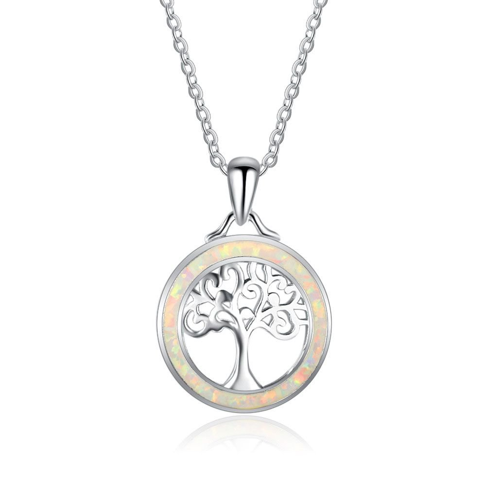 Tree Created Opal Circle 925 Silver Necklace