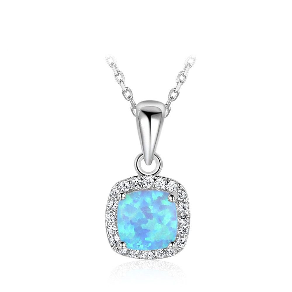 Simple Square Blue Created Opal 925 Silver CZ Necklace