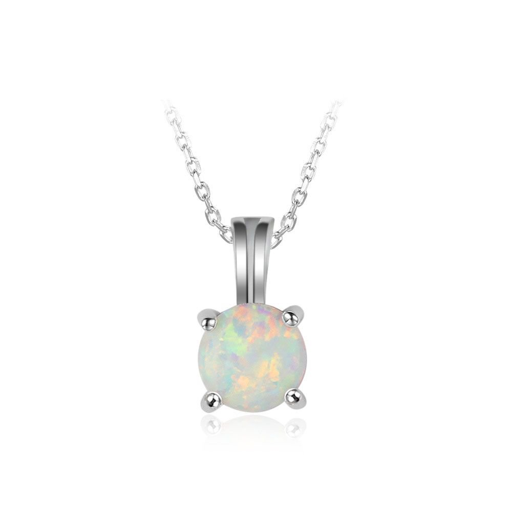Round White Created Opal 925 Sterling Silver Necklace