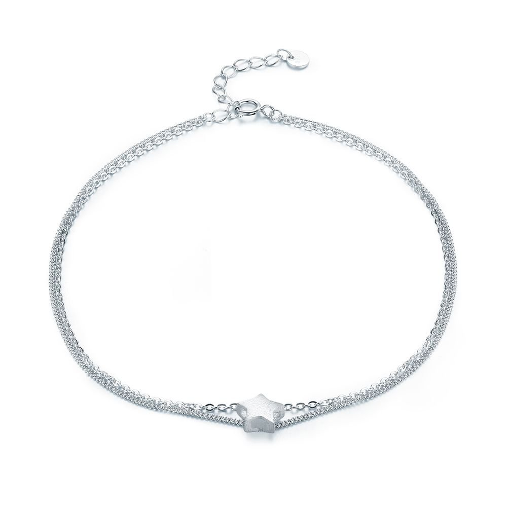 Fashion Five Star 925 Sterling Silver Double Layer Anklet