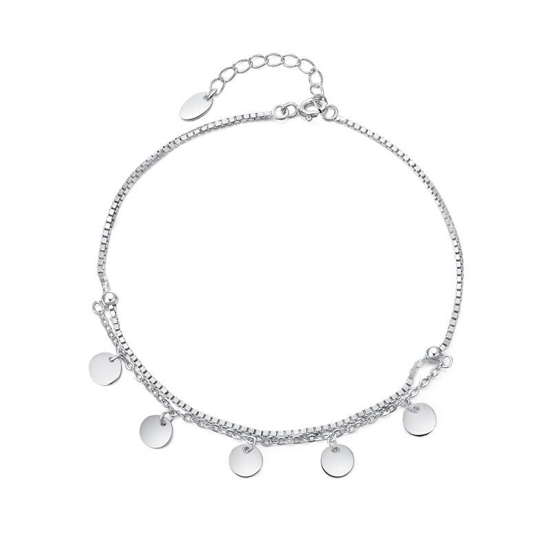 Dangle Silver Bean 925 Sterling Silver Double Layer Foot Anklet