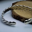 Vintage Simple Twisted 925 Sterling Silver Open Bangle