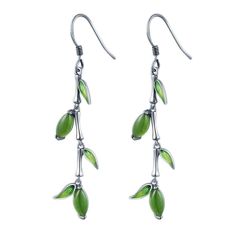 Green Natural Jade Leaves 925 Sterling Silver Dangling Earrings