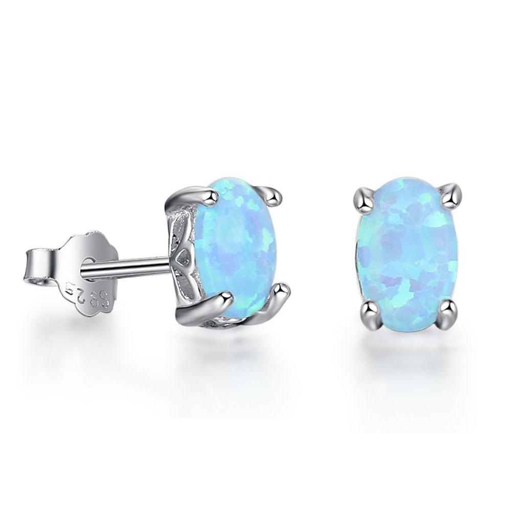 Simple Oval Created Opal925 Silver Stud Earrings