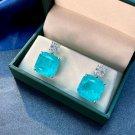 Radiant Blue Created Tourmaline CZ 925 Sterling Stud Earrings