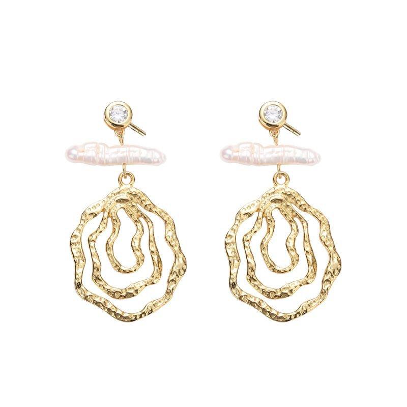 Natural Pearl Geometry Cubic Zirconia 925 Sterling Silver Dangling Earrings